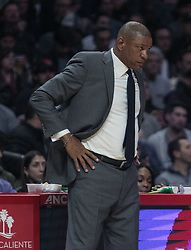 March 8, 2019 - Los Angeles, California, United States of America - Coach, Doc Rivers of the Los Angeles Clippers during their NBA game with the Oklahoma Thunder on Friday March 8, 2019 at the Staples Center in Los Angeles, California. Clippers defeat Thunder, 118-110.  JAVIER ROJAS/PI (Credit Image: © Prensa Internacional via ZUMA Wire)