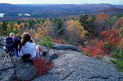 Taking in the view on Bacon Ledge in the Society for the Protection of New Hampshire Forests' Pierce Reservation.  Stoddard, NH