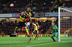 Bristol City's Karleigh Osborne challenges for the header - Photo mandatory by-line: Dougie Allward/JMP - Tel: Mobile: 07966 386802 14/01/2014 - SPORT - FOOTBALL - Vicarage Road - Watford - Watford v Bristol City - FA Cup - Third Round - replay