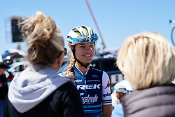 Tayler Wiles (USA) chats to friends at Amgen Tour of California Women's Race empowered with SRAM 2019 - Stage 1, a 96.5 km road race in Ventura, United States on May 16, 2019. Photo by Sean Robinson/velofocus.com