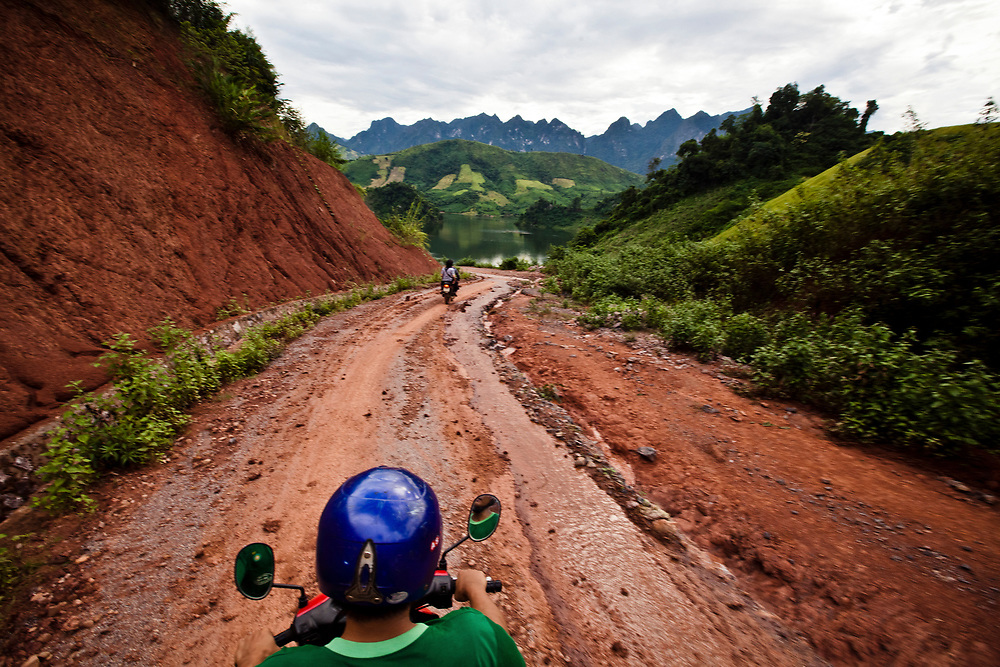 A washed out road to a remote village in northern Vietnam. Photographs from Son La Province taken for the Prosthetics Outreach Foundation (POF).