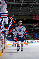 PENTICTON, CANADA - SEPTEMBER 9: Chad Butcher #65 of Edmonton Oilers celebrates a goal against the Winnipeg Jets on September 9, 2017 at the South Okanagan Event Centre in Penticton, British Columbia, Canada.  (Photo by Marissa Baecker/Shoot the Breeze)  *** Local Caption ***