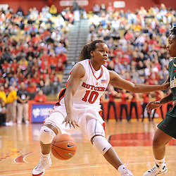 Jan 31, 2009; Piscataway, NJ, USA; Rutgers guard Epiphanny Prince (10) protects the ball from South Florida guard Shantia Grace (3) during the second half of South Florida's 59-56 victory over Rutgers in NCAA women's college basketball at the Louis Brown Athletic Center