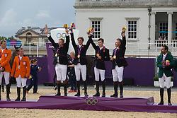 Team Great Britain:<br /> Skelton Nick (GBR)<br /> Maher Ben (GBR) <br /> Brash Scott (GBR)<br /> Charles Peter (GBR)<br /> Olympic Games London 2012<br /> © Dirk Caremans