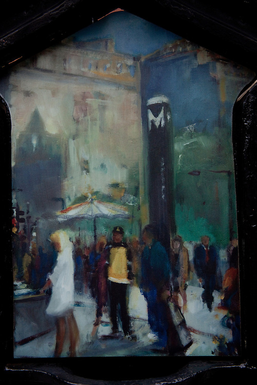 Image of DC street scene is painted on an old fire call box.