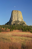 Moon over Devils Tower National Monument, Wyoming
