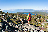 Young man hiking near the Pacific Crest Trail. South Lake  Tahoe, CA