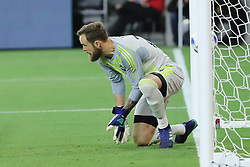 April 29, 2018 - Los Angeles, CA, U.S. - LOS ANGELES, CA - APRIL 29: Seattle Sounders goalkeeper Stefan Frei (24) appears to make an easy save in extra time but somehow the ball gets past him as he takes his eyes off the ball leading to an unexpected goal and a 1-0 win for Los Angeles in the game between the Saettle Sounders FC and Los Angeles FC on April 29, 2018 at Banc of California Stadium in Los Angeles, CA. (Photo by Peter Joneleit/Icon Sportswire) (Credit Image: © Peter Joneleit/Icon SMI via ZUMA Press)