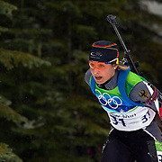 Winter Olympics, Vancouver, 2010. Magdalena Neuner, Germany, winning the Silver Medal in  the Women's 7.5 KM Sprint Biathlon at The Whistler Olympic Park, Whistler, during the Vancouver  Winter Olympics. 13th February 2010. Photo Tim Clayton