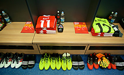 CARDIFF, WALES - Saturday, September 2, 2017: The shirt, shin pads and boots of Wales' Gareth Bale in the dressing room before a pre-match walks at the Vale Resort ahead of the 2018 FIFA World Cup Qualifying Group D match against Austria. (Pic by David Rawcliffe/Propaganda)