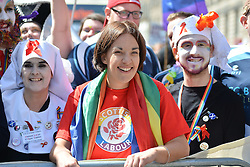 Scottish Labour leader Kezia Dugdale prepares to lead off  marchers before the annual Pride Scotia march in Edinburgh.<br /> <br /> © Dave Johnston/ EEm
