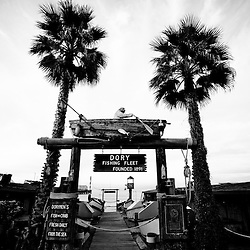 Dory Fishing Fleet black and white picture in Newport Beach in Orange County Southern California.