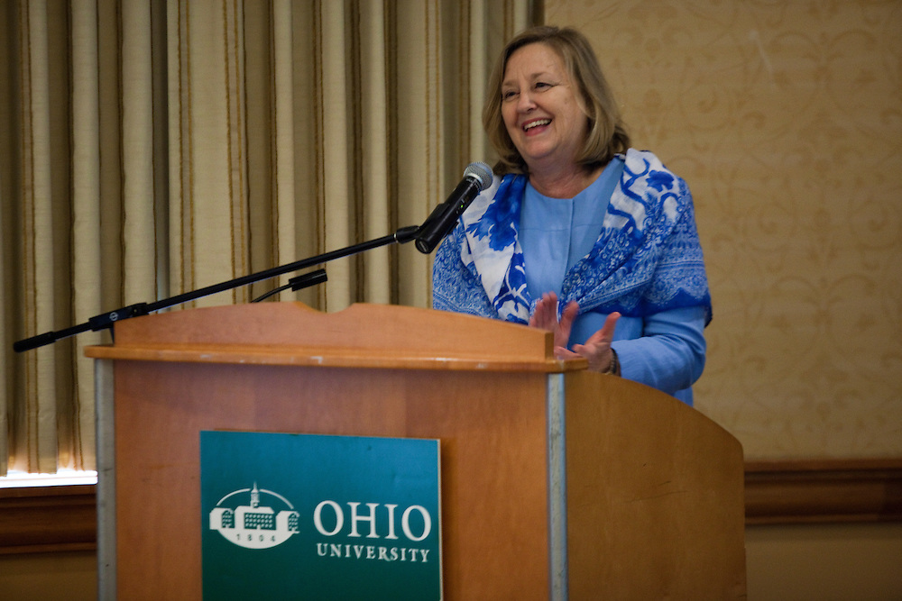 "Dorothy Schey at Women in Philanthropy of Ohio University ""Women's View"" talk show at Baker Center Theater on November 7, 2013."