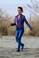 Natalie Portman shows major cleavage dressed up as a Punk Rock Star while filming VOX LUX in Plumb Beach Brooklyn alongside co-star, Raffey Cassidy. 05 Mar 2018 Pictured: Natalie Portman. Photo credit: LRNYC / MEGA TheMegaAgency.com +1 888 505 6342