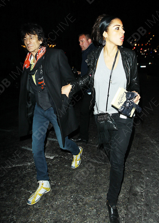 22.APRIL.2010. LONDON<br /> <br /> RONNIE WOOD AND GIRLFRIEND ANA ARAUJO LEAVING AUTOMAT RESTAURANT IN MAYFAIR.<br /> <br /> BYLINE: EDBIMAGEARCHIVE.COM<br /> <br /> *THIS IMAGE IS STRICTLY FOR UK NEWSPAPERS AND MAGAZINES ONLY*<br /> *FOR WORLD WIDE SALES AND WEB USE PLEASE CONTACT EDBIMAGEARCHIVE - 0208 954 5968*