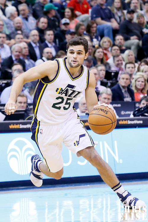 09 December 2015: Utah Jazz guard Raul Neto (25) dribbles during the Utah Jazz 106-85 victory over the New York Knicks, at the Vivint Smart Home Arena, Salt Lake City, Utah, USA.