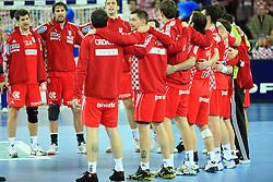 Team of Croatia celebrates during 21st Men's World Handball Championship 2009 Main round Group I match between National teams of Croatia and Hungary, on January 24, 2009, in Arena Zagreb, Zagreb, Croatia.  (Photo by Vid Ponikvar / Sportida)