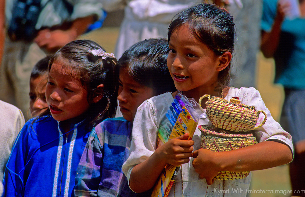 South America, Peru, Amazon River. Village people of the Amazon.