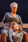 Theatre Royal Stratford East presents Crowning Glory, a new play by Somalia Seaton that seeks to reveal a hidden world of unobtainable beauty by asking the question, how do women truly see themselves in today's world? Picture features T'Nia Miller Bal-Ead & Allyson Ava-Brown (Halfbreed).