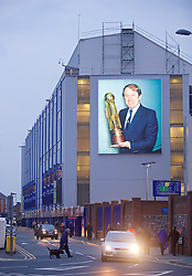 LIVERPOOL, ENGLAND - Tuesday, October 27, 2015: A photograph of former Everton manager Howard Kendall on the side of Goodison Park as a tribute following his death last week, before Football League Cup 4th Round match against Norwich City at Goodison Park. (Pic by David Rawcliffe/Propaganda)