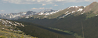Rocky Mountain National Park Panorama on Trail Ridge Road. Images taken with a Nikon D200 and 105 mm f/2.8 VR macro lens (ISO 100, 105 mm, f/11, 1/160 sec). Composite of five images using Auto Pano Giga 2.5. Additional processing with Photoshop CS5.