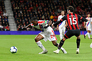 Aaron Wan-Bissaka (29) of Crystal Palace looks for a way past Adam Smith (15) of AFC Bournemouth during the Premier League match between Bournemouth and Crystal Palace at the Vitality Stadium, Bournemouth, England on 1 October 2018.