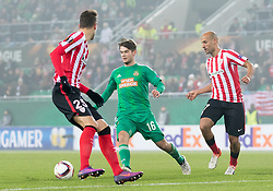 08.12.2016, Weststadion, Wien, AUT, UEFA EL, SK Rapid Wien vs Athletic Club Bilbao, Gruppe F, im Bild Enric Saborit (Athletic Club Bilbao), Philipp Malicsek (SK Rapid Wien), Mikel Rico (Athletic Club Bilbao) // during a UEFA Europa League, group F game between SK Rapid Wien and Athletic Club Bilbao at the Weststadion, Vienna, Austria on 2016/12/08. EXPA Pictures © 2016, PhotoCredit: EXPA/ Sebastian Pucher
