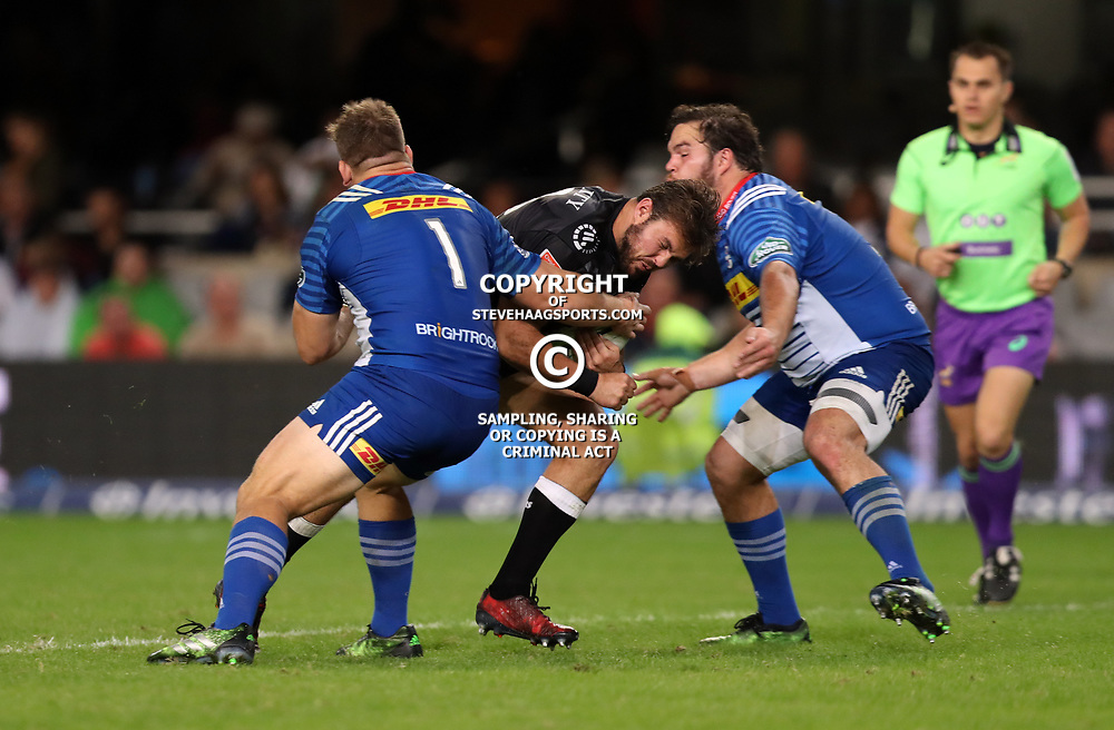 DURBAN, SOUTH AFRICA - MAY 27:  Oli Kebble of the DHL Stormers and Frans Malherbe of the DHL Stormers look to tackle Franco Marais of the Cell C Sharks during the Super Rugby match between Cell C Sharks and DHL Stormers at Growthpoint Kings Park on May 27, 2017 in Durban, South Africa. (Photo by Steve Haag/Gallo Images)