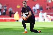 West Ham United goalkeeper Joe Hart (25) warms up before the Premier League match between Arsenal and West Ham United at the Emirates Stadium, London, England on 22 April 2018. Picture by Bennett Dean.