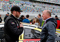 February 9, 2019 - Daytona, FL, U.S. - DAYTONA, FL - FEBRUARY 09: Former NASCAR crew chief Larry McReynolds with son Brandon McReynolds (28) KBR Development Toyota prior to  the running of the Lucas Oil 200 on February 9, 2019 at Daytona International Speedway in Daytona Beach, Florida (Photo by Jeff Robinson/Icon Sportswire) (Credit Image: © Jeff Robinson/Icon SMI via ZUMA Press)