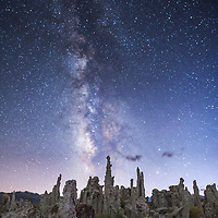 Tufa spires reach to the Milk Way along the edge of Mono Lake. © John McBrayer