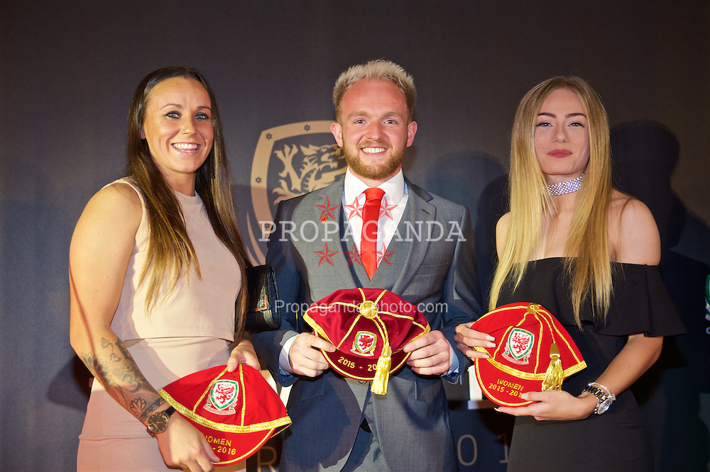 CARDIFF, WALES - Tuesday, November 8, 2016: Natasha Harding, Jonathan Williams and Charlie Estcourt are presented wth their caps during the FAW Awards Dinner at the Vale Resort. (Pic by David Rawcliffe/Propaganda)