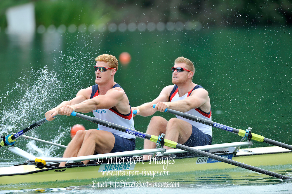Lucerne SWITZERLAND,  GBR M2X bow. Matt WELLS and Marcus BATEMAN, at the start for their  afternoons Semi final at the 2011 FISA World Cup on the Lake Rotsee. Saturday   09/07/2011   [Mandatory Credit Peter Spurrier/ Intersport Images]