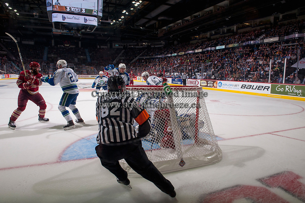 REGINA, SK - MAY 19: Referee Jeff Ingram stops behind the net of Stuart Skinner #74 of Swift Current Broncos against the Acadie-Bathurst Titan at the Brandt Centre on May 19, 2018 in Regina, Canada. (Photo by Marissa Baecker/CHL Images)