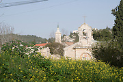 Israel, Jerusalem, Ein Kerem (Also Ein Karem), The traditional birthplace of John the Baptist. Greek Orthodox Saint John the Baptist Convent The steeple of the Church of John the Baptist in the background