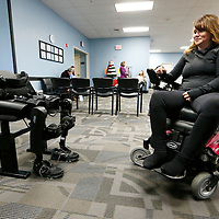 Thomas Wells   BUY at PHOTOS.DJOURNAL.COM<br /> Carla Bulue of Red Bay Alabama gets ready to leave her wheelchair that she's been in since a car accident in 1994 and use the ReWalk system she purchased to give her the ability to walk again.