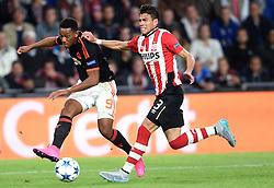 15-09-2015 NED: UEFA CL PSV - Manchester United, Eindhoven<br /> PSV kende een droomstart in de Champions League. De Eindhovenaren waren in eigen huis te sterk voor de miljoenenploeg Manchester United: 2-1 / Anthony Martial #9, Hector Moreno #3
