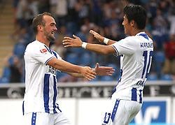 14.08.2015, Volksbank Stadion, Frankfurt, GER, 2. FBL, FSV Frankfurt vs Karlsruher SC, 3. Runde, im Bild v.l. Tor zum 1:2 Erwin Hoffer (Karlsruher SC) Torjubel Erwin Hoffer (Karlsruher SC) Hiroki Yamada (Karlsruher SC) // during the 2nd German Bundesliga 3rd round match between FSV Frankfurt and Karlsruher SC at the Volksbank Stadion in Frankfurt, Germany on 2015/08/14. EXPA Pictures © 2015, PhotoCredit: EXPA/ Eibner-Pressefoto/ Voelker<br /> <br /> *****ATTENTION - OUT of GER*****