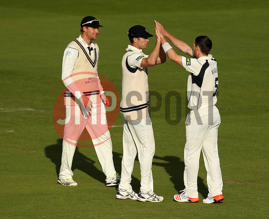 Middlesex's James Harris celebrates taking the wicket of Durham's Michael Richardson - Photo mandatory by-line: Robbie Stephenson/JMP - Mobile: 07966 386802 - 03/05/2015 - SPORT - Football - London - Lords  - Middlesex CCC v Durham CCC - County Championship Division One