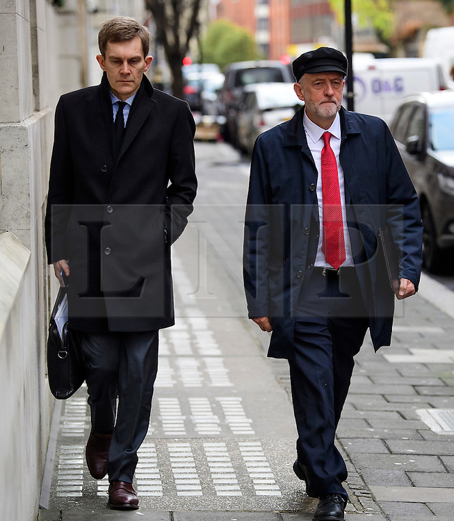 "© Licensed to London News Pictures. 10/01/2017. London, UK. Labour Party leader JEREMY CORBYN (right) seen in London with Labour Party's Executive Director of Strategy and Communications SEUMAS MILNE (Left) , on the day he is due to give a speech on Brexit, arguing that the UK ""can be better off"" after leaving the EU. Photo credit: Ben Cawthra/LNP"