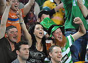 Irish Supporters enjoy the 1st Half action during action from the Rugby Union Test Match played between Australia and Ireland at Suncorp Stadium (Brisbane) on Saturday 26th June 2010 ~ Australia (22) defeated Ireland (15) ~ © Image Aura Images.com.au ~ Conditions of Use: This image is intended for Editorial use as news and commentry in print, electronic and online media ~ Required Image Credit : Steven Hight (AURA Images)For any alternative use please contact AURA Images