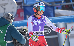 19.01.2019, Olympia delle Tofane, Cortina d Ampezzo, ITA, FIS Weltcup Ski Alpin, Abfahrt, Damen, im Bild Stephanie Venier (AUT) // Stephanie Venier of Austria reacts after her run in the ladie's Downhill of FIS ski alpine world cup at the Olympia delle Tofane in Cortina d Ampezzo, Italy on 2019/01/19. EXPA Pictures © 2019, PhotoCredit: EXPA/ Erich Spiess