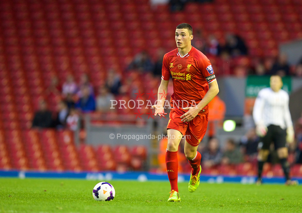 ANFIELD, ENGLAND - Friday, May 2, 2014: Liverpool's captain Lloyd Jones in action against Manchester United during the Under 21 FA Premier League Semi-Final match at Anfield. (Pic by David Rawcliffe/Propaganda)