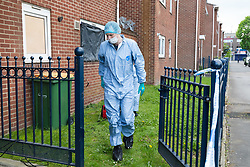 April 29, 2019 - London, London, UK - London, UK.  Police and forensic officers outside a block of flats in Vandome Close in Newham, east London. A murder investigation has been launched after two females were found dead on Friday 26th April at a residential address in Vandome Close. (Credit Image: © Vickie Flores/London News Pictures via ZUMA Wire)