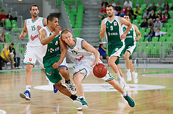 Mustafa Abdul-Hamid of Krka vs Sasu Salin  of Union Olimpija during basketball match between KK Union Olimpija and KK Krka in 4th Final match of Telemach Slovenian Champion League 2011/12, on May 24, 2012 in Arena Stozice, Ljubljana, Slovenia.  (Photo by Vid Ponikvar / Sportida.com)