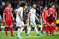 Real Madrid Marcelo and Karim Benzema during Semi Finals UEFA Champions League match between Real Madrid and Bayern Munich at Santiago Bernabeu Stadium in Madrid, Spain. May 01, 2018. (ALTERPHOTOS/Borja B.Hojas)