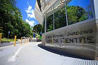 The Cairns Botanic Garden Visitors Centre blends in seamlessly with the surrounding rainforest and provides visitors with an opportunity to learn about the local flora and fauna. Far north Queensland, Australia.