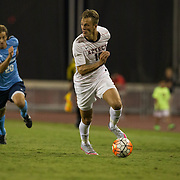 25 September 2016: The San Diego State Aztecs men's soccer team took on the University of San Diego Toreros at the SDSU Sports Deck. The Aztecs beat the Toreros 1-0 in overtime. www.sdsuaztecphotos.com