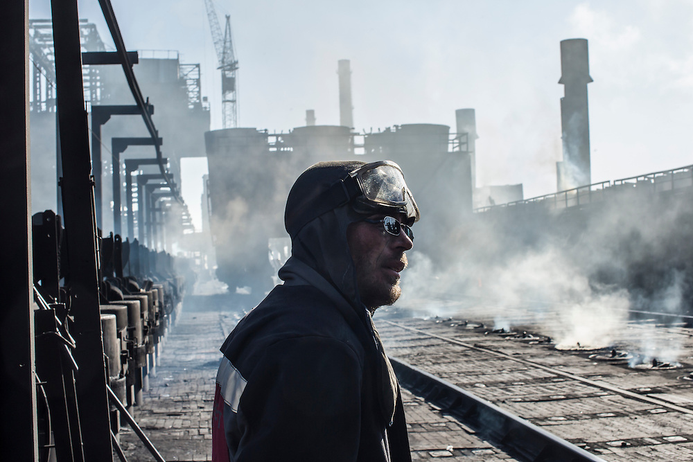 Alexei, a worker at the Avdiivka Coke Plant on Tuesday, February 16, 2016 in Avdiivka, Ukraine. The factory produces coke from local coal for use in Ukrainian steel production.