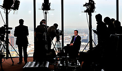 Leader of the Conservative Party David Cameron being  interviewed by political journalists  on the third day of the Conservative Party Conference in Manchester, Wednesday October 7, 2009. Photo By Andrew Parsons / i-Images.